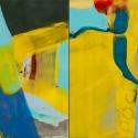 "GEOMORPHIC SURVEY (diptych) (2015)  Encaustic / 24"" x 12"""